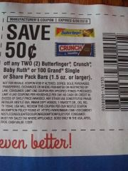 10 Coupons $.50/2 Butterfinger, Crunch, Baby Ruth or 100 Grand Single or share Pack Bars (1.5oz+) Exp.6/30/19