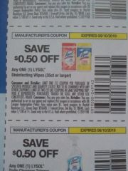 10 Coupons $.50/1 Lysol Disinfecting Wipes (35ct+) Exp.6/10/19