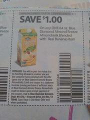 10 Coupons $1/1 Blue Diamond Almond Breeze Almondmilk Blended W Real Bananas Item 64oz Exp.6/30/19