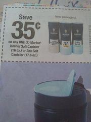 10 Coupons $.35/1 Morton Kosher Salt Canister (16oz) or Sea Salt Canister (17.6oz) Exp.6/8/19