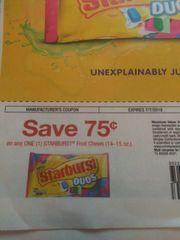 10 COupons $.75/1 Starburst Fruit Chews (14-15oz) Exp.7/7/19