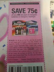 10 Coupons $.75/1 Energizer Batteries or Energizer Flashlight Exp.5/25/19