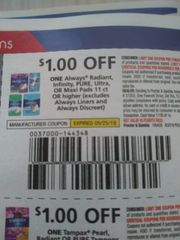 10 Coupons $1/1 Always Radiant, Infinity, Pure Ultra, or Maxi Pads 11ct+ (Excludes Always Liners and Always Discreet) Exp.5/25/19
