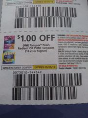 10 Coupons $1/1 Tampax Pearl, Radiant or Pure Tampons (16ct+) Exp.5/25/19
