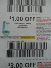 10 Coupons $1/1 Venus Razor (Excludes Disposables) Exp.5/25/19