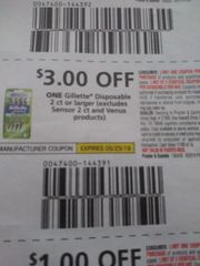 10 Coupons $3/1 Gillette Disposable 2ct+ (Excludes Sensor 2ct and Venus Products) Exp.5/25/19