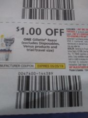 10 Coupons $1/1 Gillette Razor (Excludes Disposables, Venus Products and ets) Exp./25/19