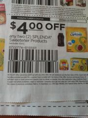 10 Coupons $4/2 Splenda Sweetener Products (Excludes 50ct) Exp/31/19