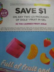 10 Coupons $1/2 Dole Fruit in Gel Exp.7/21/19