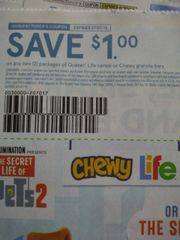 10 Coupons $1/2 Quaker Life Cereal or Chewy Granola Bars Exp.7/7/19