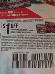 10 Coupons $1/2 M&M's, Snickers, Dove, or Twix Candies (8oz+) Exp.7/7/19