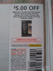 10 Coupons $5/1 Braun Product (Excludes mobile Shaver, Bikini trimmer, Precision Trimmer, Ear & Nose Trimmer Face Refills, Replacement Heads and Clean & renew refills) Exp.6/22/19