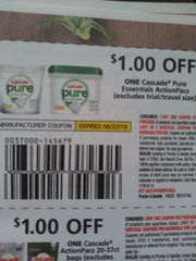 10 Coupons $1/1 Cascade Pure Essentials ActionPacs Exp.6/22/19