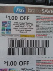 10 Coupons $1/1 Always Radiant, Infinity, Pure, Ultra Or Maxi Pads 11ct+ (Excludes Always Liners and Discreet) Exp.6/22/19