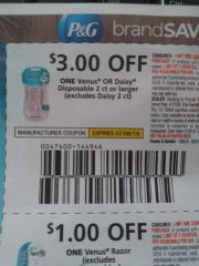 10 Coupons $3/1 Venus or Daisy Disposable 2ct+ (Excludes Daisy 2ct) Exp.7/6/19