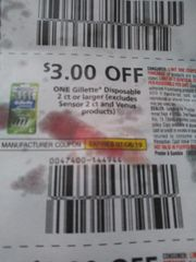 10 Coupons $3/1 Gillette Disposable 2ct+ (Excludes Sensor 2ct and Venus Products) Exp.7/6/19