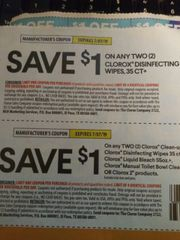 10 Coupons $1/2 Clorox Disinfecting Wipes 35ct Exp.7/7/19