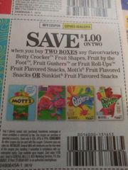 10 Coupons $1/2 Betty Crocker Fruit Shapes, Fruit By The Foot, Fruit Gushers Or Fruit Roll-Ups Fruit Flavored Snacks, Mott'sFruit Flavored Snacks or Sunkist Fruit Flavored Snacks Exp.8/3/19