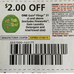10 Coupons $2/1 Gain Flings 31ct+ (Excludes Fireworks, Gain Laundry Detergent and ets) Exp.7/6/19