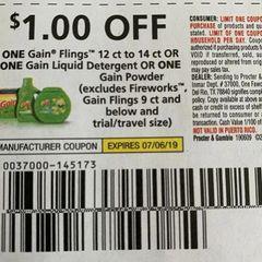 10 Coupons $1/1 Gain Flings 12ct to 14ct Or (1) Gain Liquid Detergent or (1) Gain Powder (Excludes Fireworks, Gain Flings 9ct ad Below and ets) Exp.7/6/19