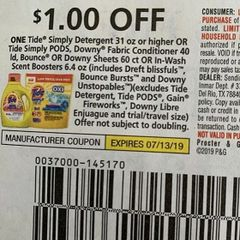 10 Coupons $1/ Tide Simply Detergent 31oz+ Or Tide Simply Pods, Downy Fabric Conditioner 40ld, Bounce or Downy Sheets60ct Or In-Wash Scent Boosters 6.4oz (Includes Dreft Blissfuls, Bounce bursts and Downy Unstopables Exp.7/13/19