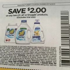 10 Coupons $2/2 All or Snuggle Products Exp.7/14/19