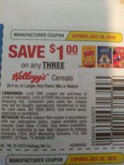 10 Coupons $1/3 Kellogg's Cereals (8.4oz+) Exp.7/28/19