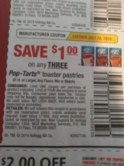 10 Coupons $1/3 Pop-Tarts Toaster Pasteries (6ct+) Exp.7/28/19