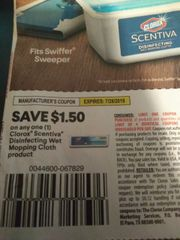 10 Coupons $1.50/1 Clorox Scentiva Disinfecting Wet Mopping Cloth Product Exp.7/28/19