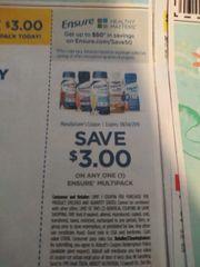 10 Coupons $3/1 Ensure Multipack Exp.8/4/19