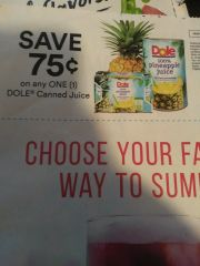 10 Coupons $.75/1 Dole Canned Juice Exp.8/31/19