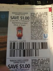 10 Coupons $1/1 Hellmann's Real Ketchup Product (14oz+) Exp.7/21/19