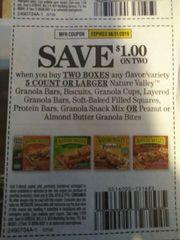 10 Coupons $1/2 Nature Valley Granola Bars, Biscuits, Granola Cups, Layered Granola bars, Soft-Baked Filled Squares, Protein Bars, Granola Snack Mix Or Peanut or Almond Butter Granola Bites 5ct+ Exp.8/31/19