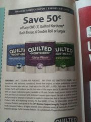 10 Coupons $.50/1 Quilted Northern Bath Tissue, 6 Double Roll+ Exp.8/21/19