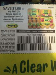 10 Coupons $1/2 Mott's Juice or Applesauce Single Serve Exp.9/15/19