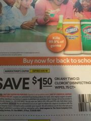 10 Coupons $1.50/2 Clorox Disinfecting Wipes 75ct+ Exp.9/1/19