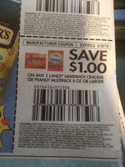 10 Coupons $1/2 Lance Sandwich Cracker or Peanut Multipack 8oz+ Exp.9/30/19