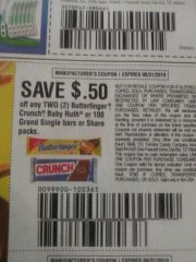 10 Coupons $.50/2 Butterfinger, Crunch, Baby Ruth or 100 Grand Single Bars or Share Packs Exp.8/31/19