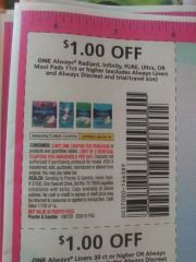 10 Coupons $1/1 Always Radiant, Infinity, Pure Ultra Or Maxi Pads 11ct+ (Excludes Alwyas Liners and Always Discreet and ets) Exp.8/24/19
