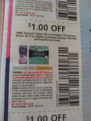 10 Coupons $1/1 Always Liners 30ct+ Or Always wipes 20ct+ (Excludes Always Discreet and ets) Exp.8/24/19