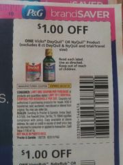 10 Coupons $1/1 Vicks DayQuil or NyQuil Product (Excludes 8ct DayQuil & NyQuil and ets) Exp.8/24/19