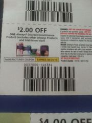 10 Coupons $2/1 Always Discreet Incontinence Product Exp.8/24/19