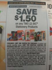 10 Coupons $1.50/2 Bic Stationery Products Exp.8/24/19