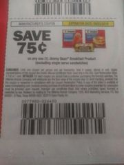 10 Coupons $.75/1 Jimmy Dean Breakfast Product (Excludes Single Serve Sandwiches) Exp.9/3/19