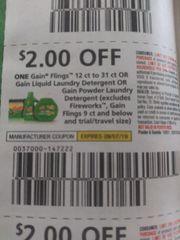10 Coupons $2/1 Gain FLings 12ct to 31ct Or Gain Liquid Laundry Detergent Or Gain Powder Laundry Detergent (Excludes Fireworks, Gain Flings 9ct and Below) Exp.9/7/19