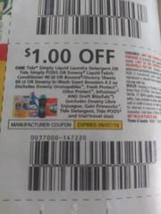 10 COupons $1/1 Tide Simply Liquid Laundry Detergent or Tide Simply Pods or Downy Liquid Fabric Conditioner 40ld or Bounce/Downy Sheets 60ct Or Downy In-Wash Scent Boosters 4.3oz Exp.9/7/19