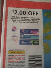 10 Coupons $2/1 Crest Toothpaste 3oz+ (Excludes Cavity, Regular, Baking Soda, Tarter Control/Protection, F&W Pep Gleem, Kids and ets) Exp.9/7/19