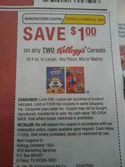 10 Coupons $1/2 Kellogg's Creals (8.4oz+) Exp.10/20/19