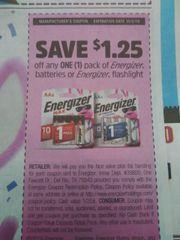 10 Coupons $1.25/1 Energizer Batteries Or Energizer Flashlight Exp.10/5/19