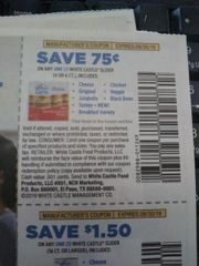 10 Coupons $.75/1 White castle Slider (4ct or 6ct) Exp.9/30/19